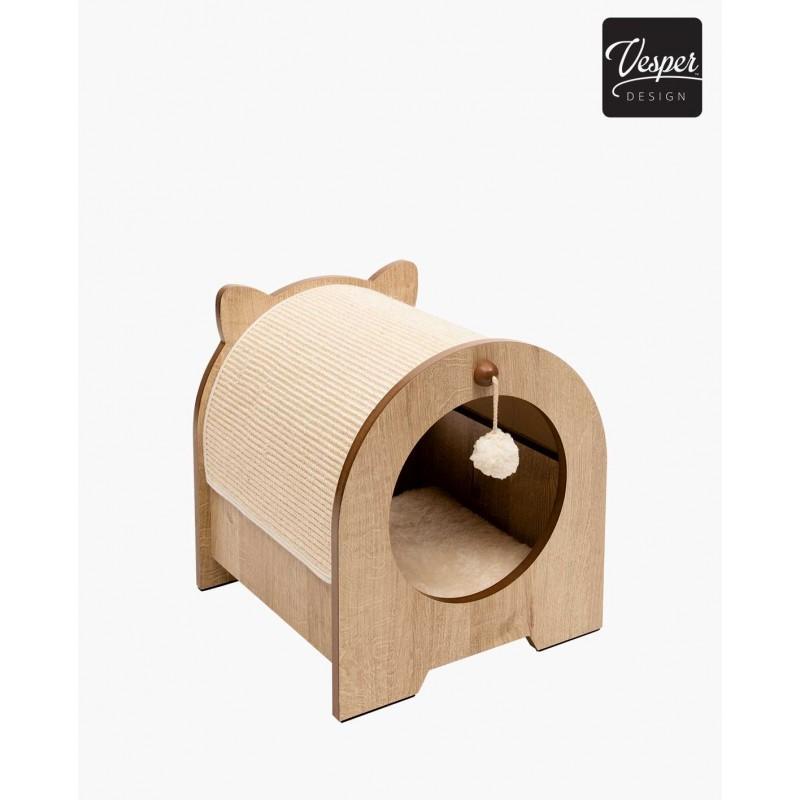 Rascador para gatos con casita MINOU