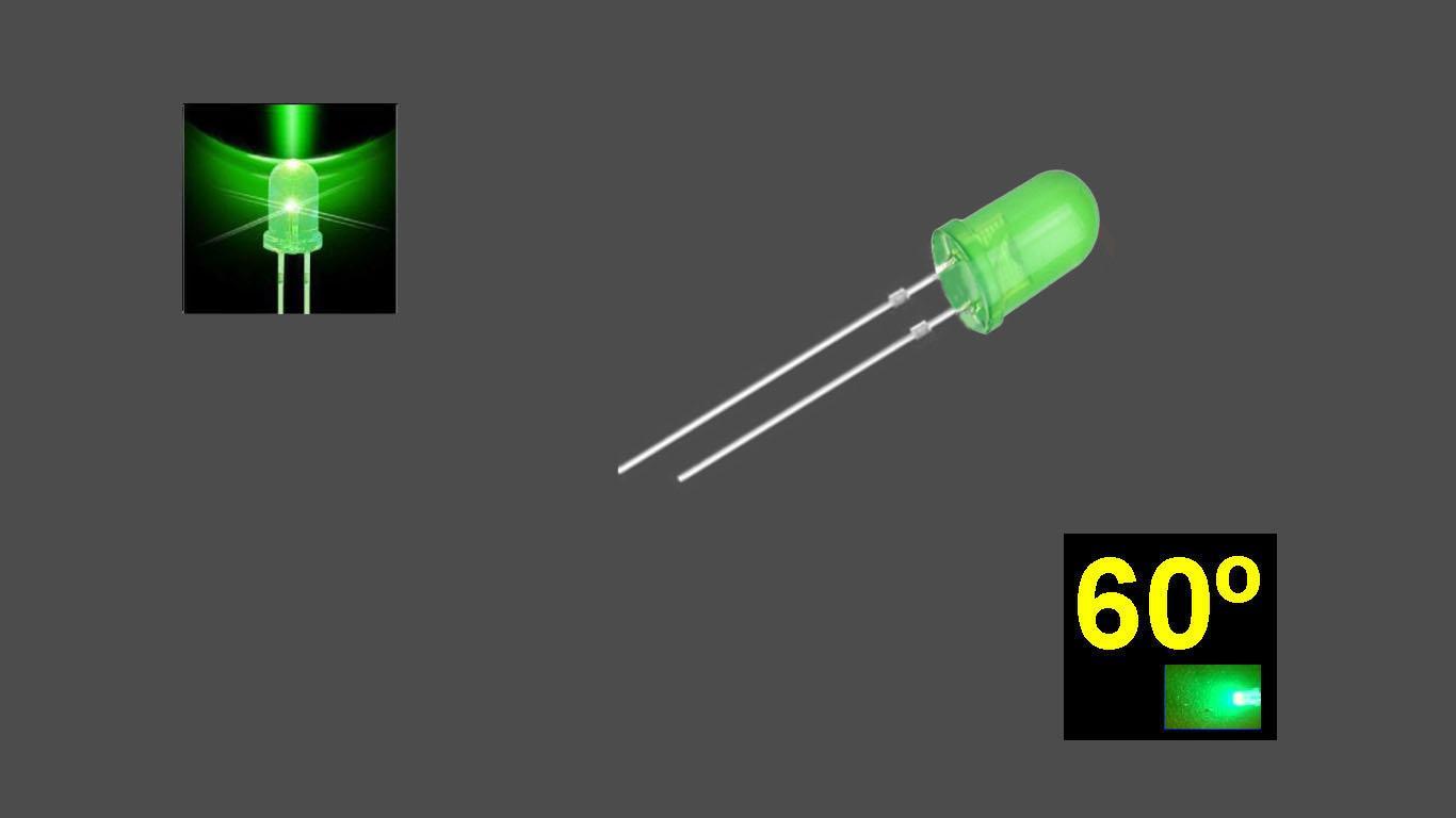 560PG2D.  5mm LED. Verde Puro. Lente difusa verde. Superbrillo. HB.  60°~70°