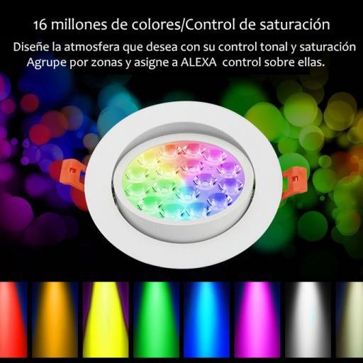 Downlight enfocable 9w RGB+CCT ,control remoto, app comp Alexa. [1]
