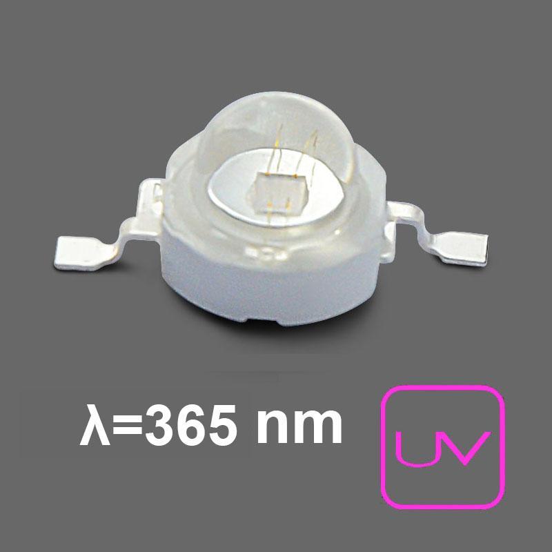 U.V. Power LED 700mA. 365nm . Emisor de Rayos Ultravioleta. 2,5Vcc
