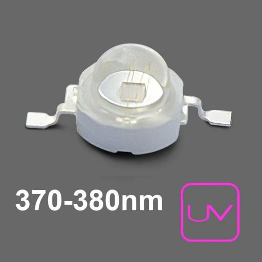U.V. Power LED 700mA. 370nm . Emisor de Rayos Ultravioleta. 2,5Vcc