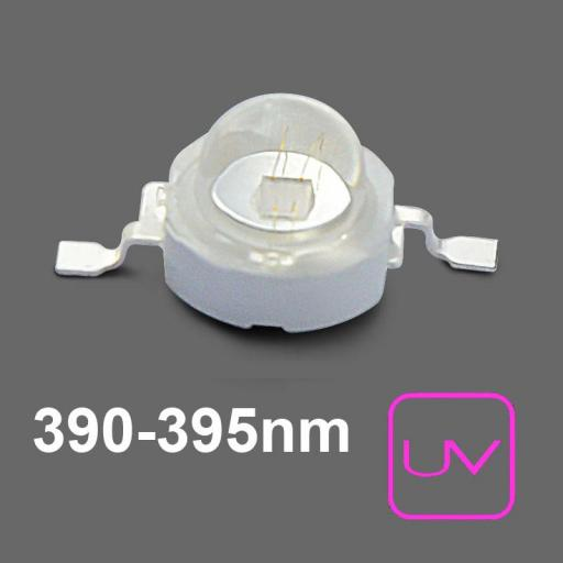 U.V. Power LED 700mA. 390nm . Emisor de Rayos Ultravioleta. 2,5Vcc