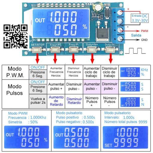 Modulador PWM. 3,3V-30VDC. 1-150Khz. 8A Max. Parametrizable. [1]