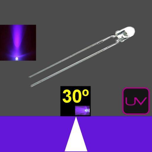 330MUV9C.  3mm LED. ultravioleta. Lente transparente. Superbrillo. HB