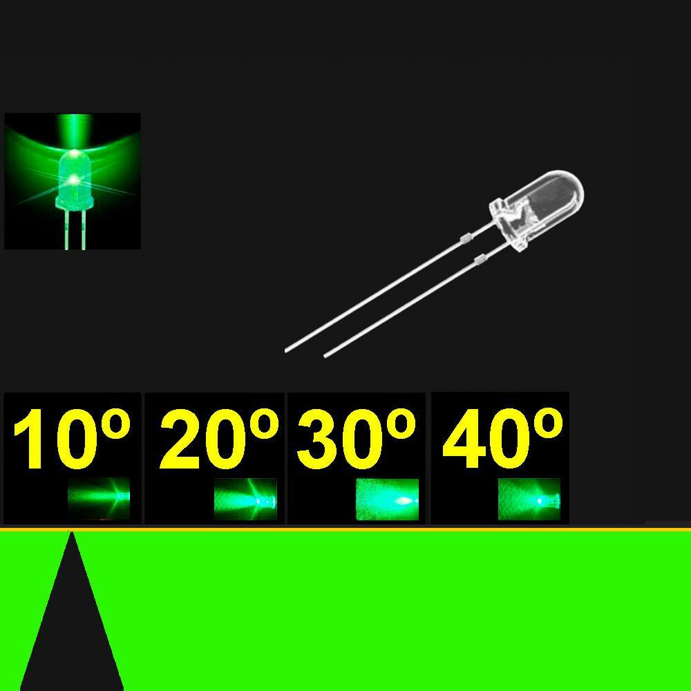 510PG2C.  5mm LED. Verde Puro. Lente Transparente. Superbrillo. HB.  10°~13°