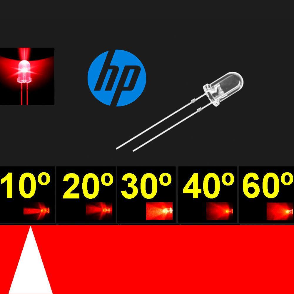 510PR2C.  5mm LED Super Rojo. Chip H.P. 624~630nm. Lente transparente. Muy Alta Vida.  10°~13°. 8200 mcd.