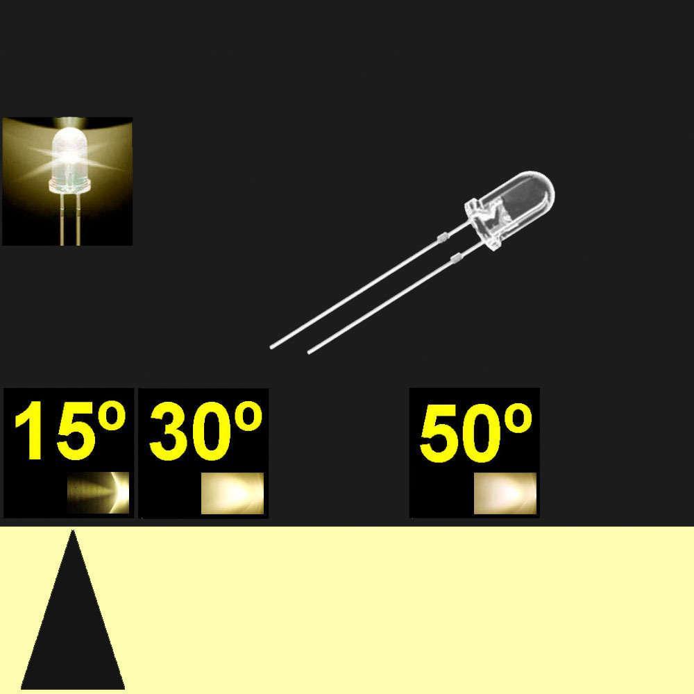 515PW04C.  5mm LED. Blanco Calido. Lente transparente. Superbrillo. HB.  13°~17°. Quemado Lento.