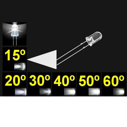 515PWC.  5mm LED. Blanco. Lente trasnparente. Superbrillo. HB.  13°~17°. Quemado Lento.