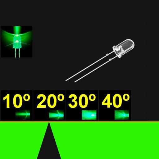 520PG2C.  5mm LED. Verde Puro. Lente Transparente. Superbrillo. HB.  17°~23°