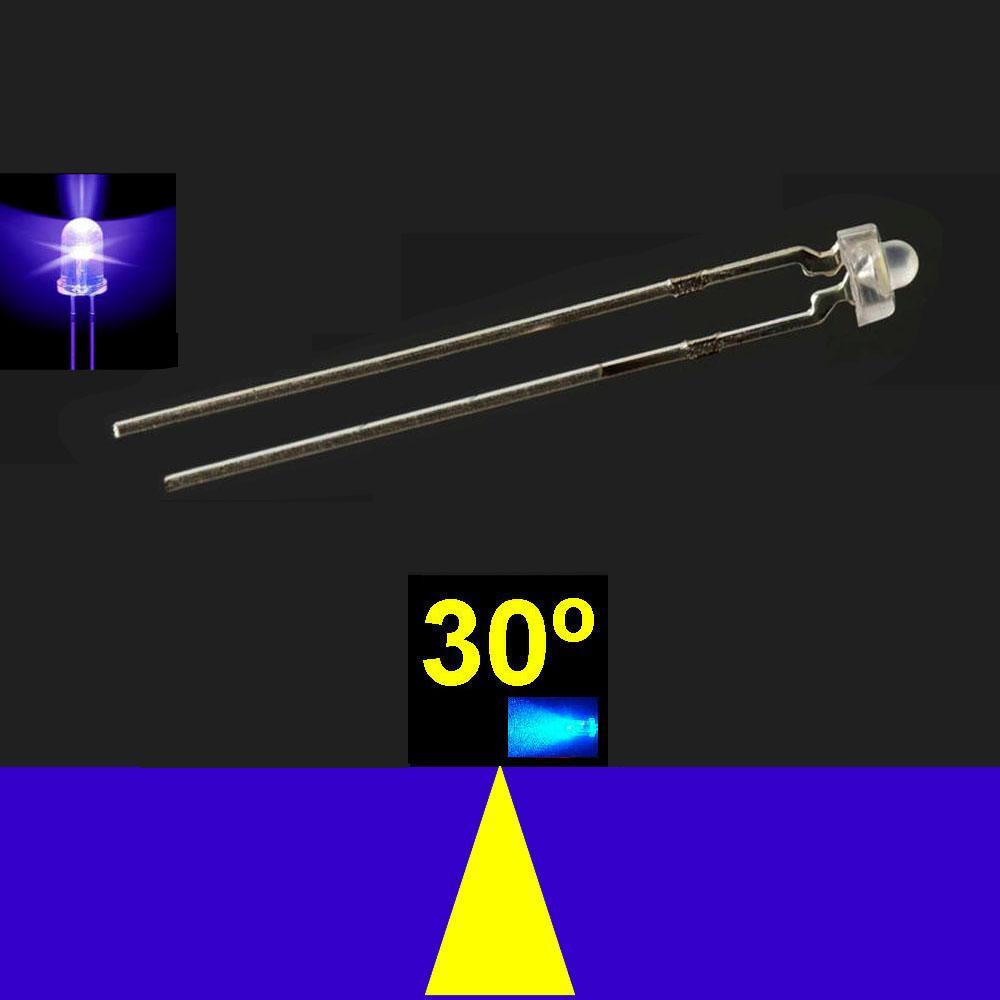 530LB5C.  5mm LED. Azul Profundo 455nm. Lente Transparente. Superbrillo. HB.  24°~30°