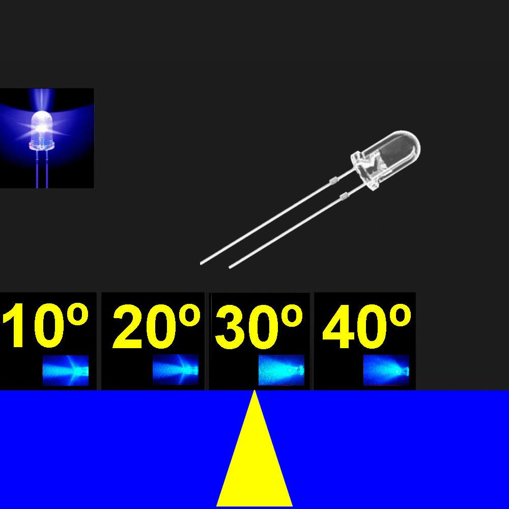 530LB7C.  5mm LED. Azul. Lente transparente. Superbrillo. HB. 24°~30°