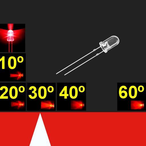 530MR2C.  5mm LED. Super Rojo. Lente transparente. Superbrillo. HB.  24°~30°. 4700 mcd. Quemado Lento.