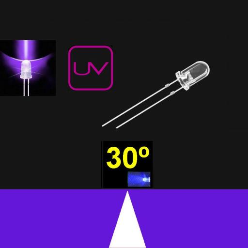 530MU9C.  5mm LED. Ultravioleta. Lente transparente. Superbrillo. HB