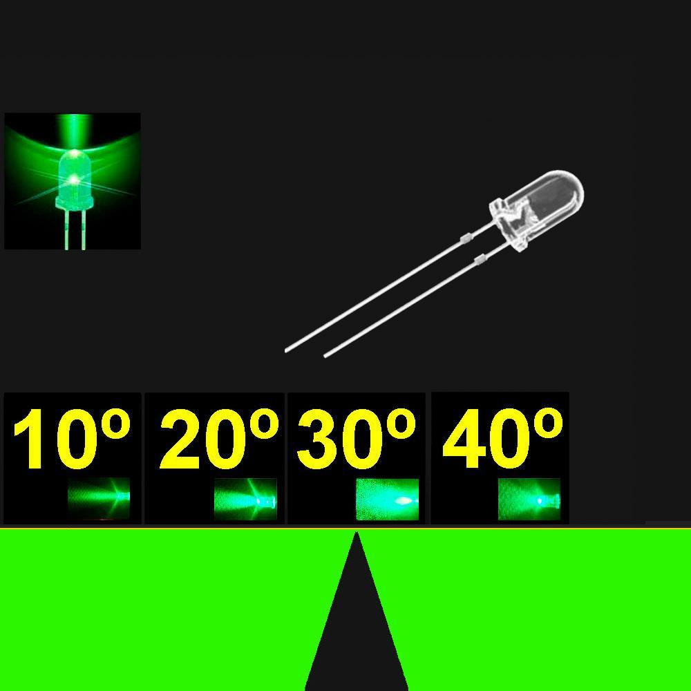 530PG2C.  5mm LED. Verde Puro. Lente Transparente. Superbrillo. HB.  24°~30°