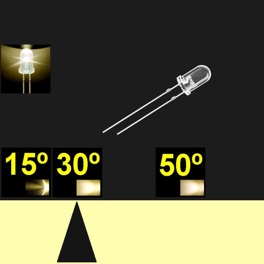 530PW04C.  5mm LED. Blanco Calido. Lente transparente. Superbrillo. HB.  24°~30°. Quemado Lento.