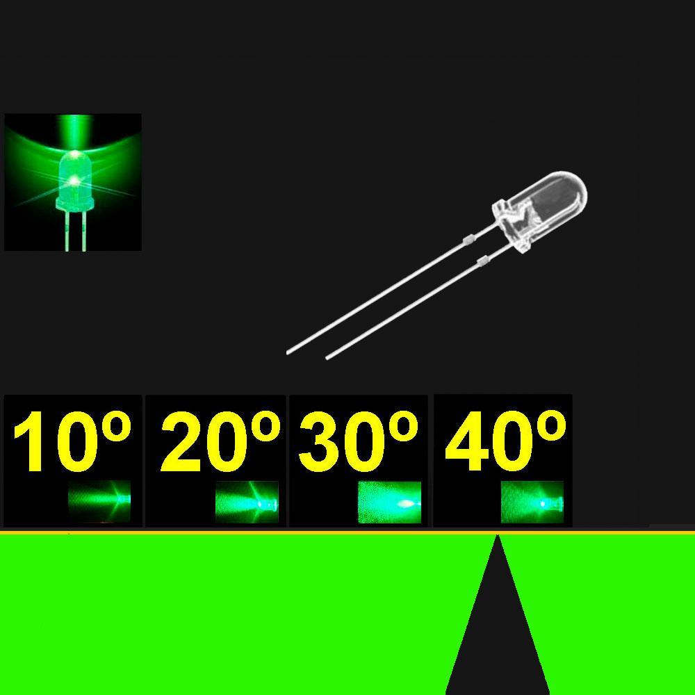 540PG2C.  5mm LED. Verde Puro. Lente Transparente. Superbrillo. HB.  30°~40°