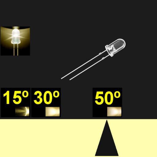 550PW04C.  5mm LED. Blanco Calido. Lente transparente. Superbrillo. HB.  40°~50°. Quemado Lento.