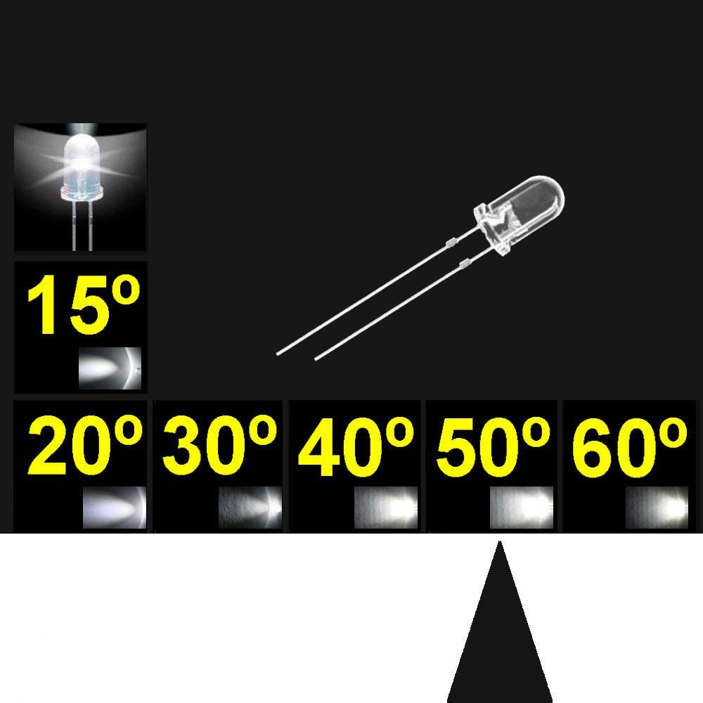 550PWC.  5mm LED. Blanco. Lente trasnparente. Superbrillo. HB.  40°~50°. Quemado Lento.