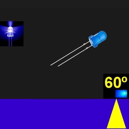 560LB7D.  5mm LED. Azul. Lente Azul difusa. Superbrillo. HB.  60°~70°