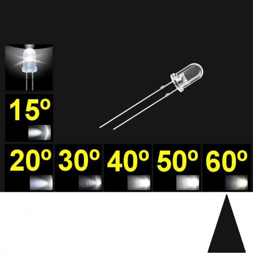 560PWC.  5mm LED. Blanco. Lente trasnparente. Superbrillo. HB.  55°~65°. Quemado Lento.