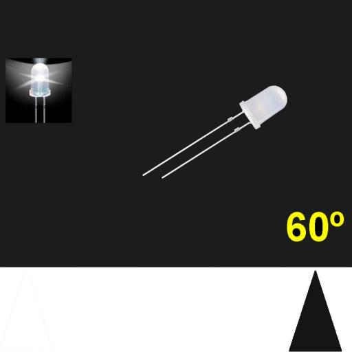 560PWD.  5mm LED. Blanco. Lente Blanca Difusa. Superbrillo. HB.  60°~70°. Quemado Lento.