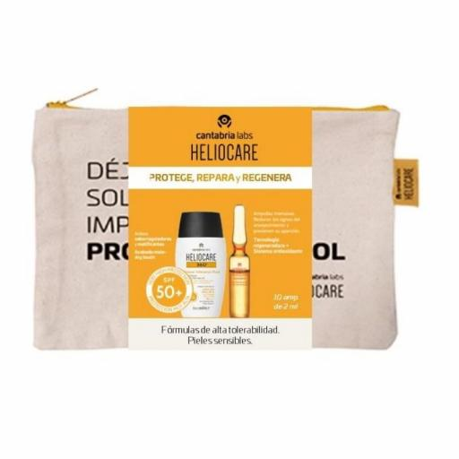 PACK HELIOCARE PIEL SENSIBLE  MINERAL TOLERANCE + AMPOLLAS ENDOCARE C OIL FREE 10 UDS