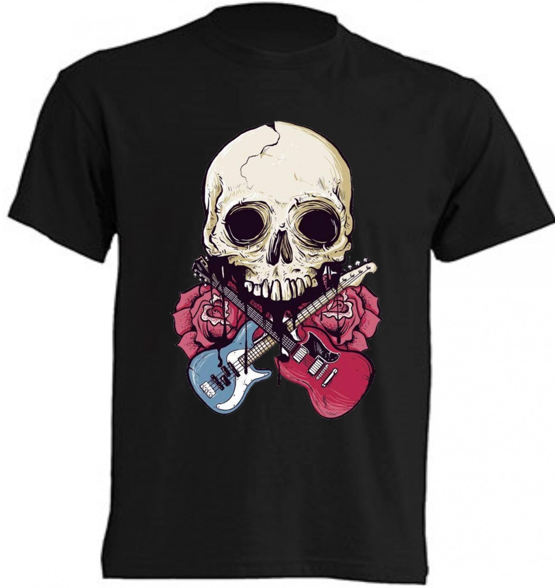 Camiseta Calavera con guitarras