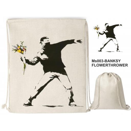 Mochila de cuerdas sublimación - Banksy Flowerthrower - MS003