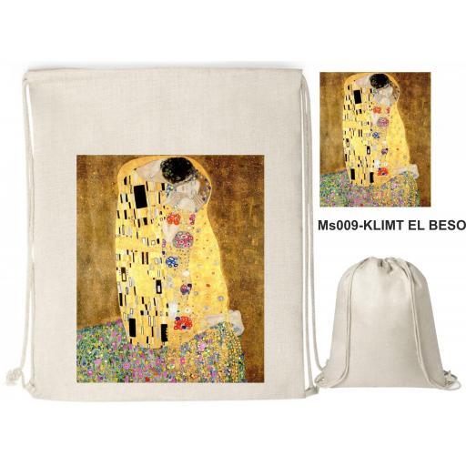 Mochila de cuerdas sublimación - Klimt El Beso - MS009