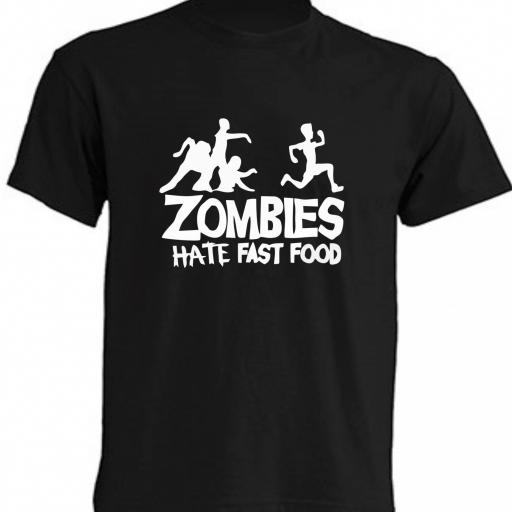 CAMISETA ZOMBIES HATE FAST FOOD