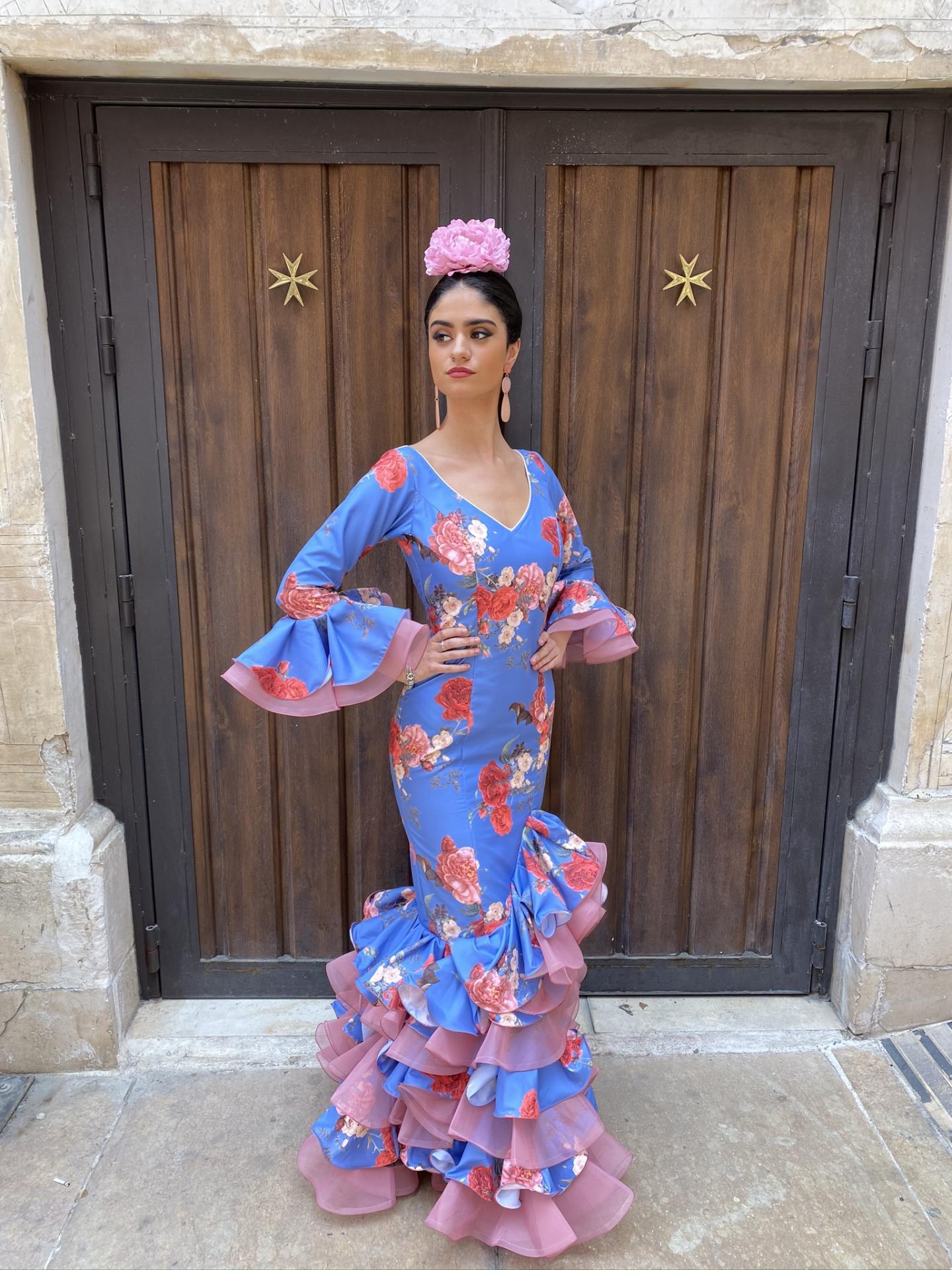 Málaga Estampado fondo azulina Organdil rosa