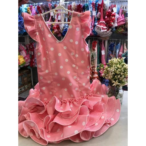 Vestido flamenca niña Rosa lunar blanco Tallas de la 0 a 14.