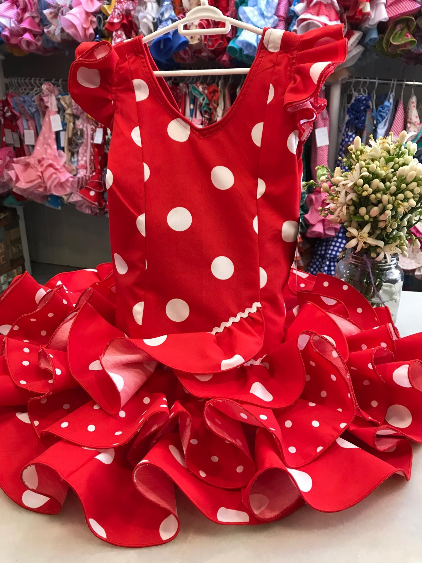 Vestido flamenca niña Rojo lunar blanco Tallas de la 0 a 14.