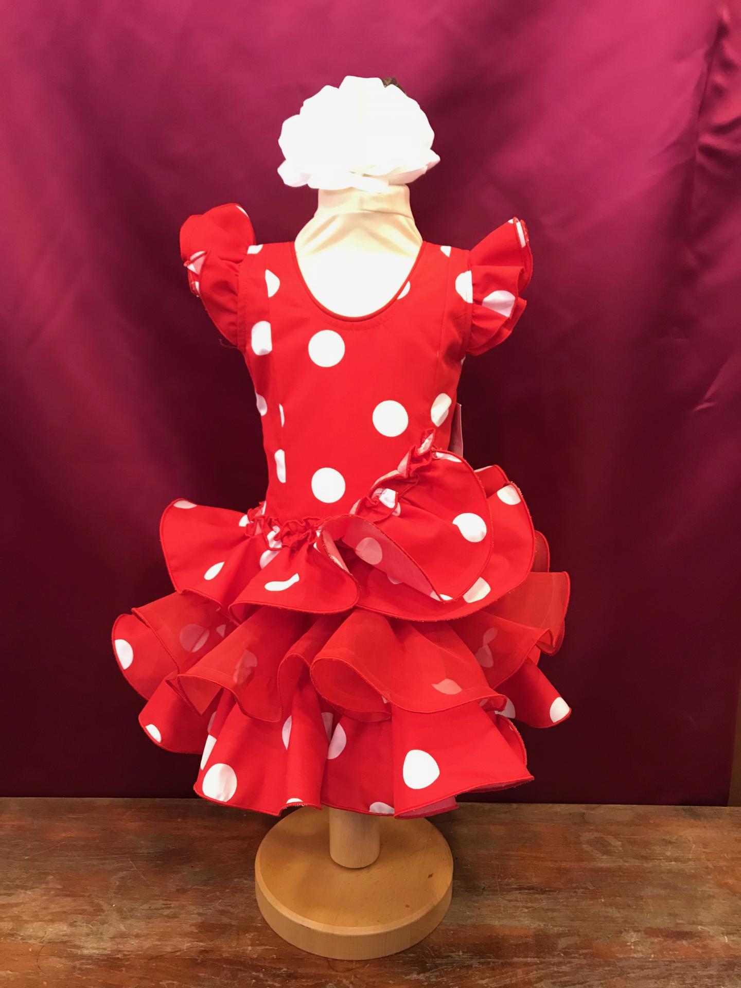 Vestido flamenca niña Fondo rojo lunar blanco. Tallas de la 0 a 14.