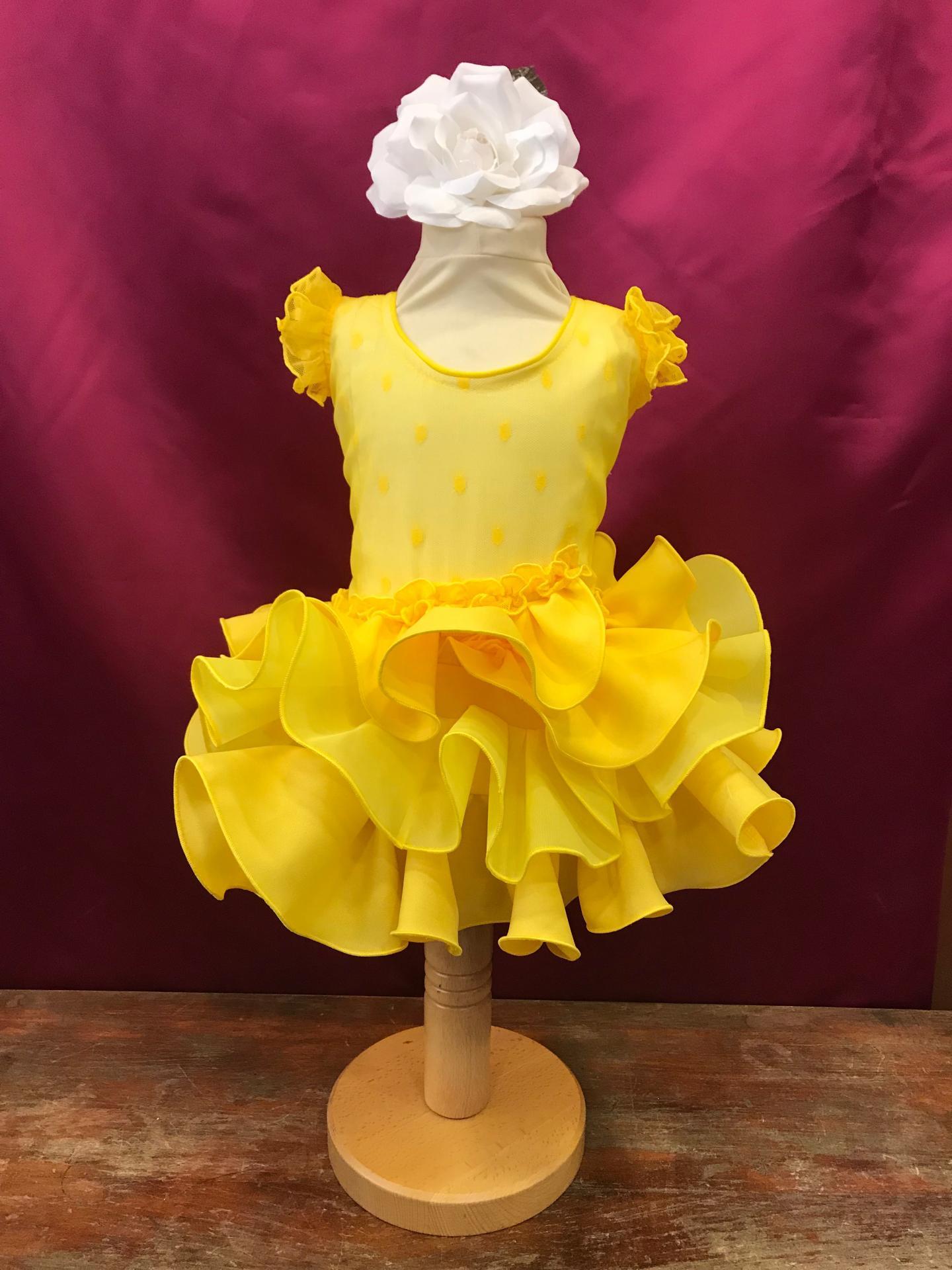 Vestido flamenca niña plumeti amarillo.