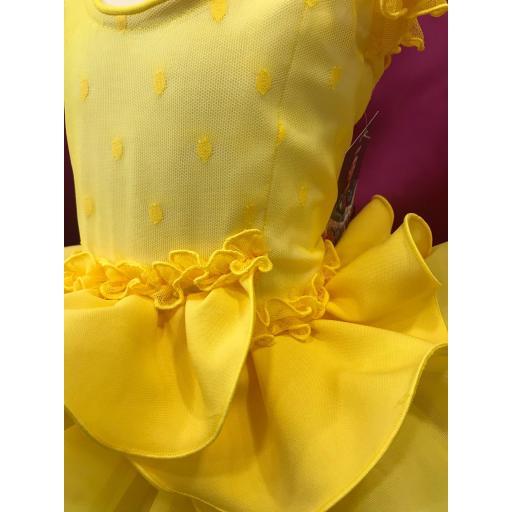 Vestido flamenca niña plumeti amarillo. [1]