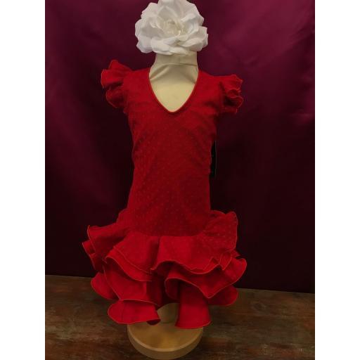 Vestido flamenca niña plumeti rojo.