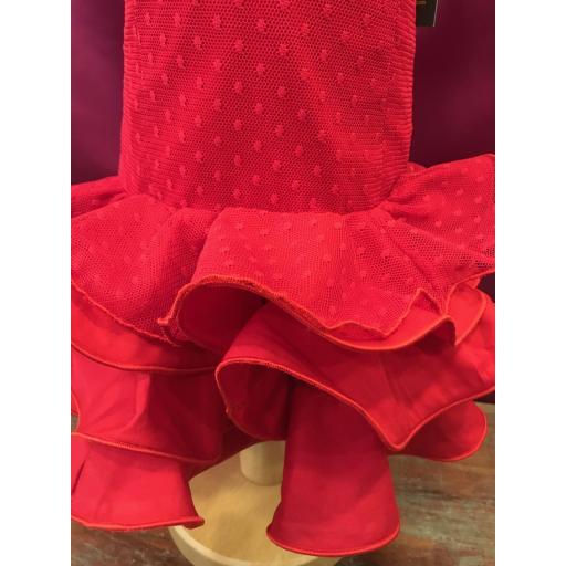 Vestido flamenca niña plumeti rojo. [1]