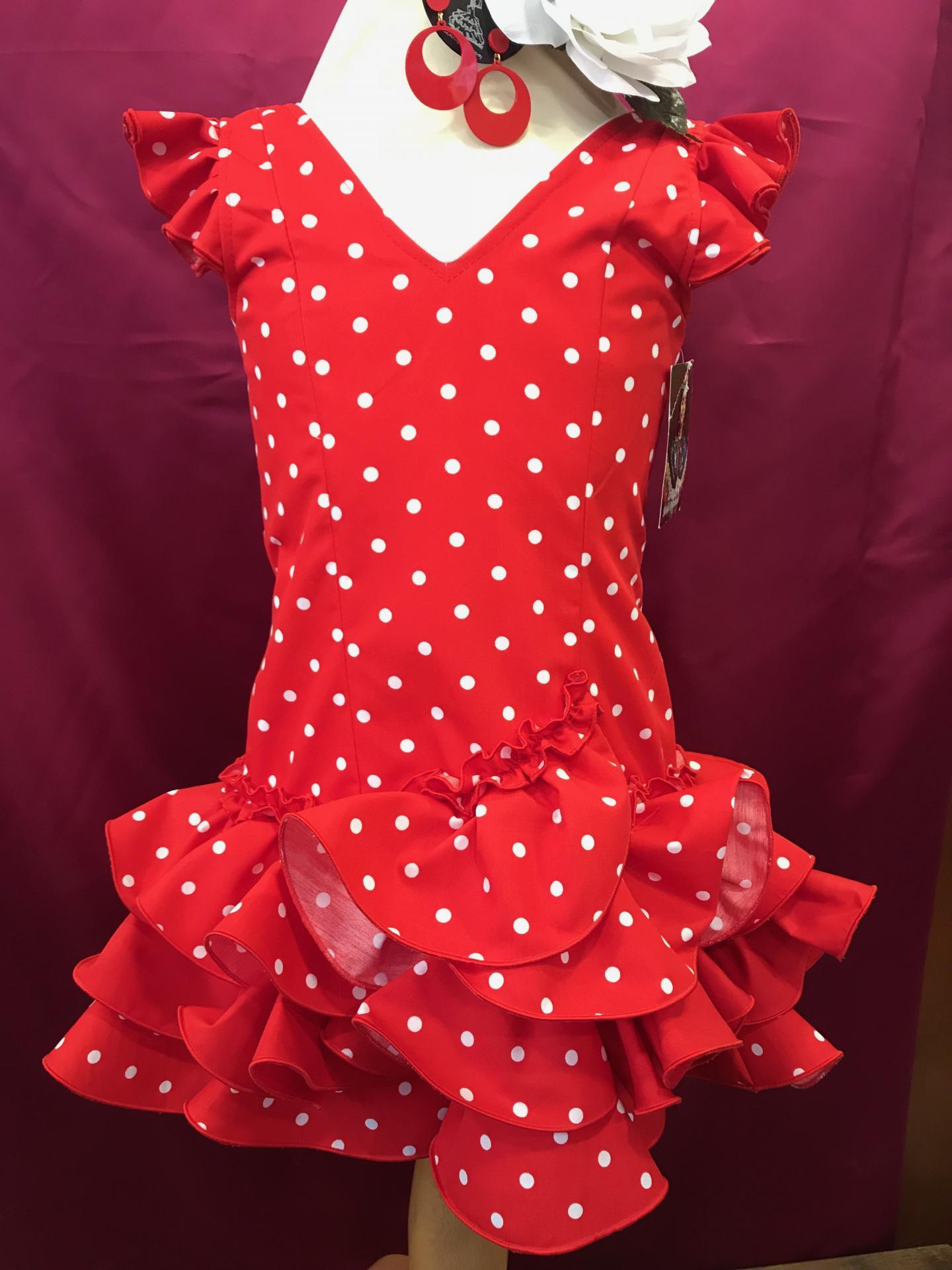 Vestido flamenca niña fondo rojo lunarillo blanco Tallas de la 0 a 14.