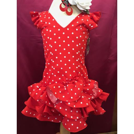 Vestido flamenca niña Fondo rojo lunar blanco.
