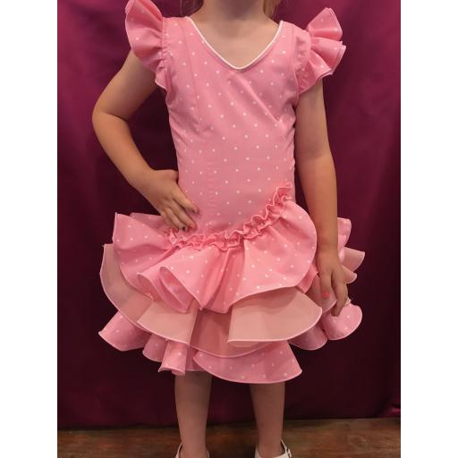 Vestido flamenca niña Fondo rosa lunarillo blanco. Tallas de la 0 a 14. [0]