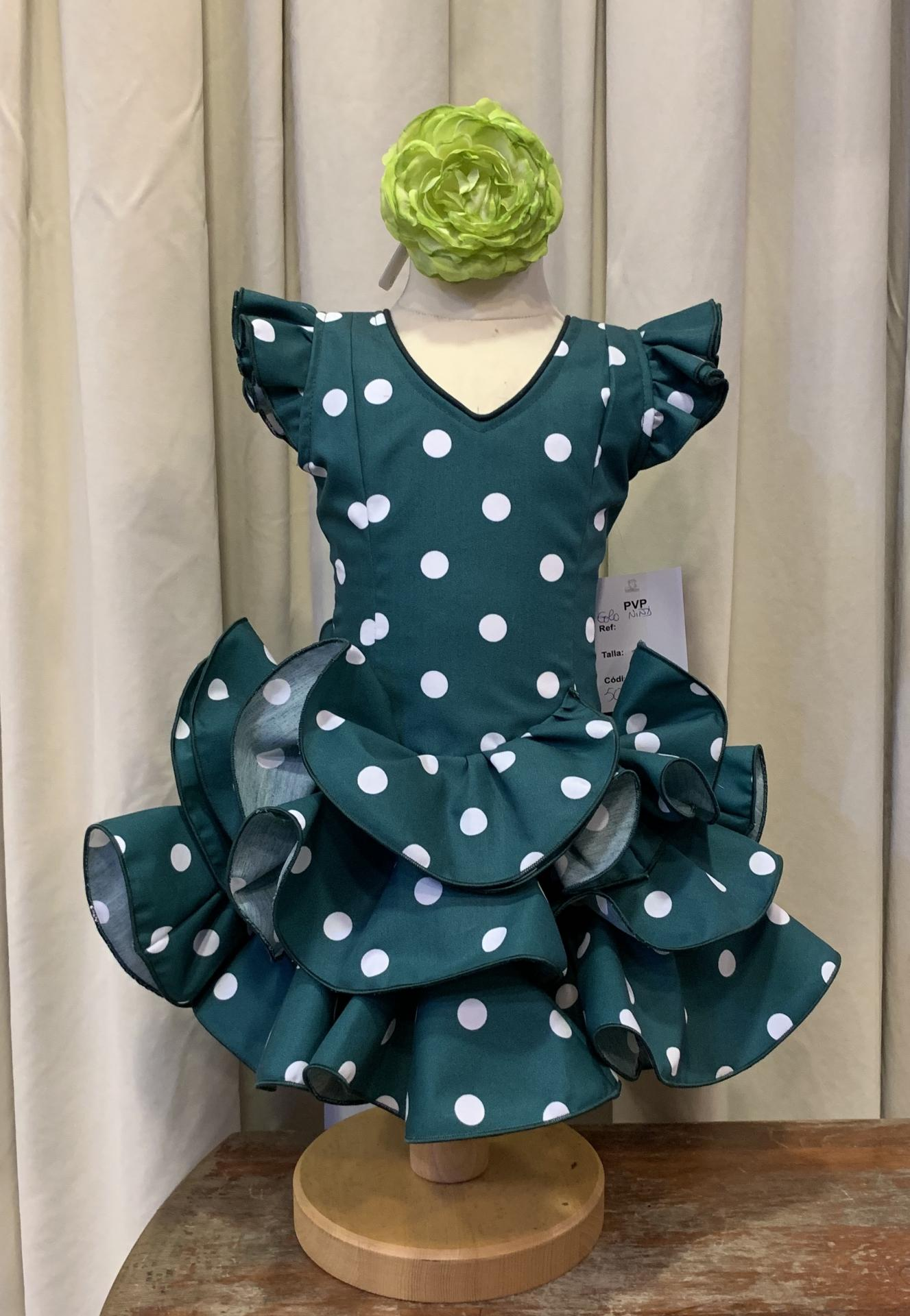 Vestido flamenca niña Modelo Golo Fondo verde y lunares blancos. Tallas de la 0 a 14.