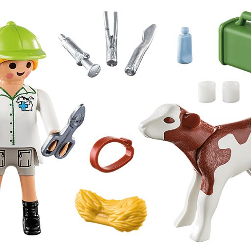 PLAYMOBIL 70252 VETERINARIA CON TERNERO [1]