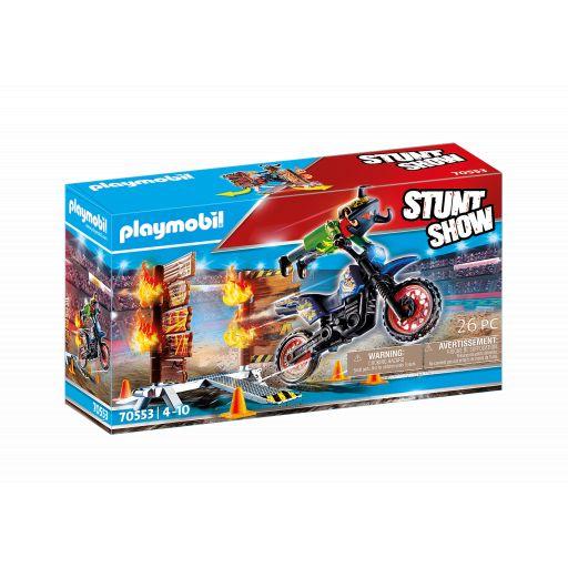 PLAYMOBIL 70553  STUNTSHOW MOTO CON MURO DE FUEGO