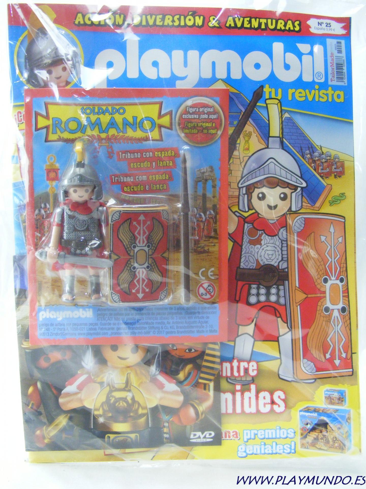 PLAYMOBIL REVISTA PLAYMOBIL BLUE Nº25 TRIBUNO ROMANO SOLDADO CON ESPADA Y ESCUDO
