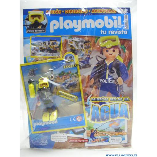PLAYMOBIL REVISTA BLUE Nº51 BUZO POLICIA EN MISION BAJO EL AGUA  (ENERO 2021)