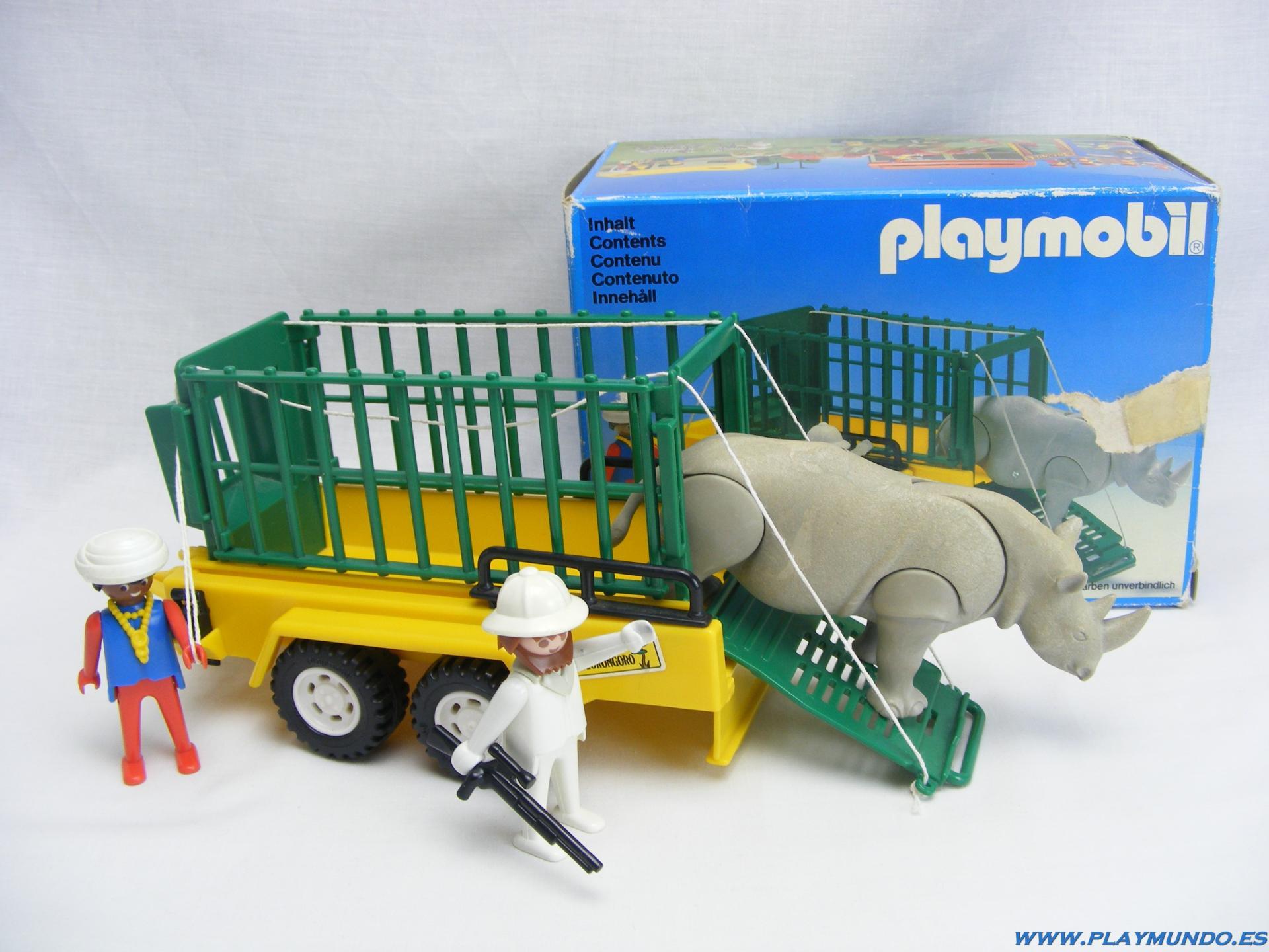 PLAYMOBIL 3529 REMOLQUE RINOCERONTE EXPEDICION SABANA (1980 - 1986)