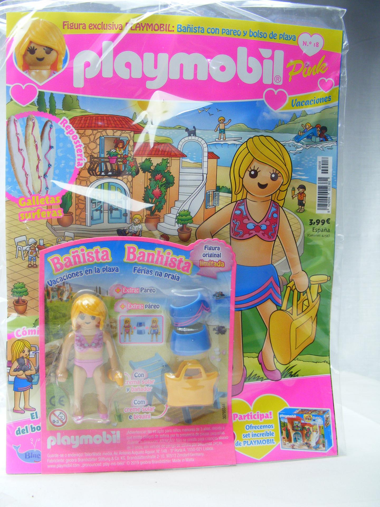 PLAYMOBIL REVISTA PLAYMOBIL PINK Nº18 BAÑISTA CON PAREO Y BOLSO DE PLAYA