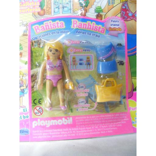 PLAYMOBIL REVISTA PLAYMOBIL PINK Nº18 BAÑISTA CON PAREO Y BOLSO DE PLAYA [1]