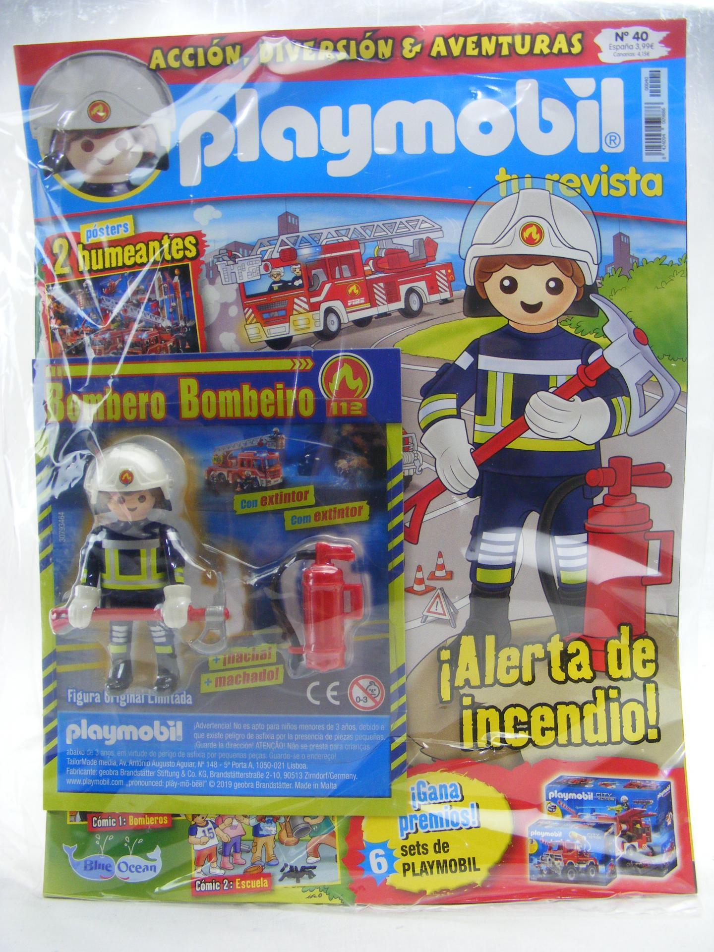 PLAYMOBIL REVISTA PLAYMOBIL BLUE Nº40 BOMBERO CON HACHA Y EXTINTOR